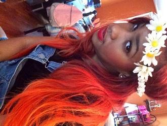 top overalls hair red hair sunflower flower headband headband jumpsuit denim