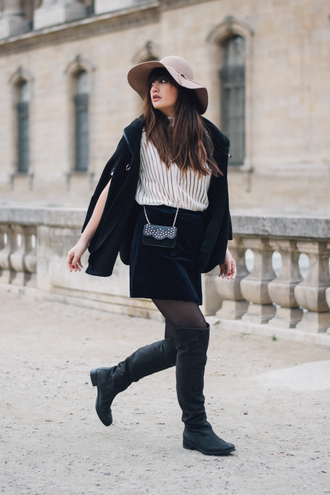 meet me in paree blogger skirt shoes bag hat sweater