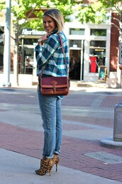 the courtney kerr,blogger,jeans,jewels,bag,leopard print high heels,shirt,printed boots,printed ankle boots,ankle boots,booties,high heels boots,animal print,leopard print,tartan,plaid shirt,plaid,burgundy bag,denim,blue jeans,fall outfits