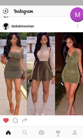 dress green dress green skirt velvet skirt velvet dress turtleneck