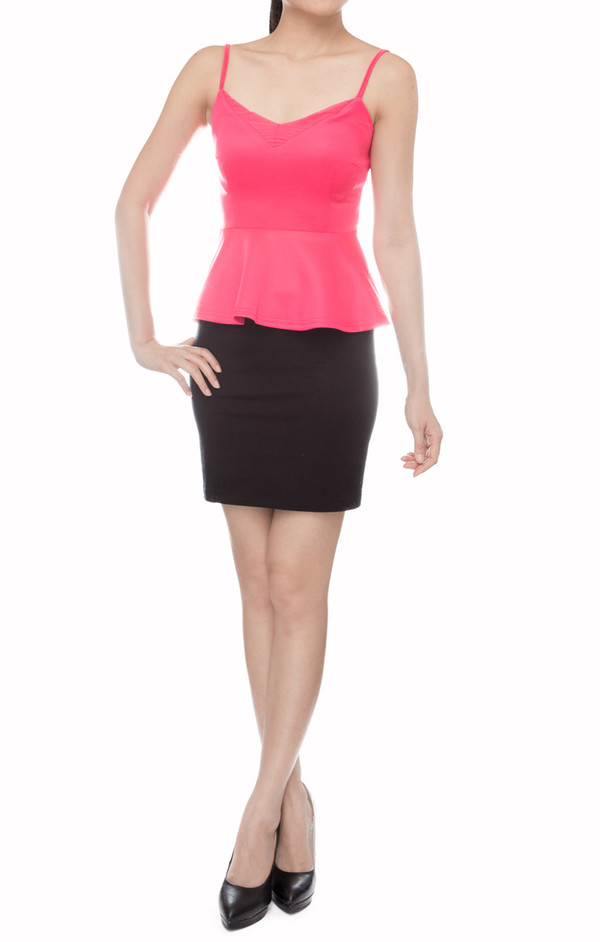 women basic fuschia mesh peplum tank top