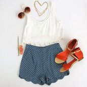 shirt,polka dots,High waisted shorts,sunglasses,shoes