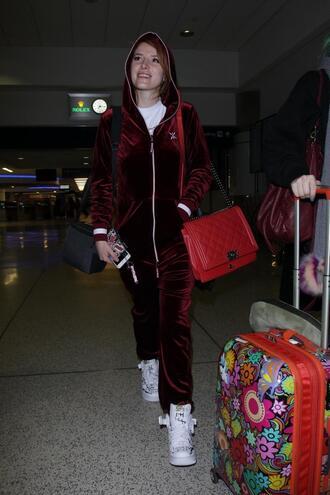 jumpsuit velvet sneakers burgundy bella thorne hoodie pants