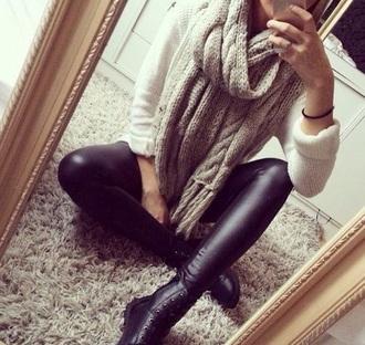 scarf warm girly big cozy beige