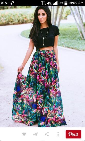 skirt floral skirt black crop top maxi skirt flowy colorful skirt