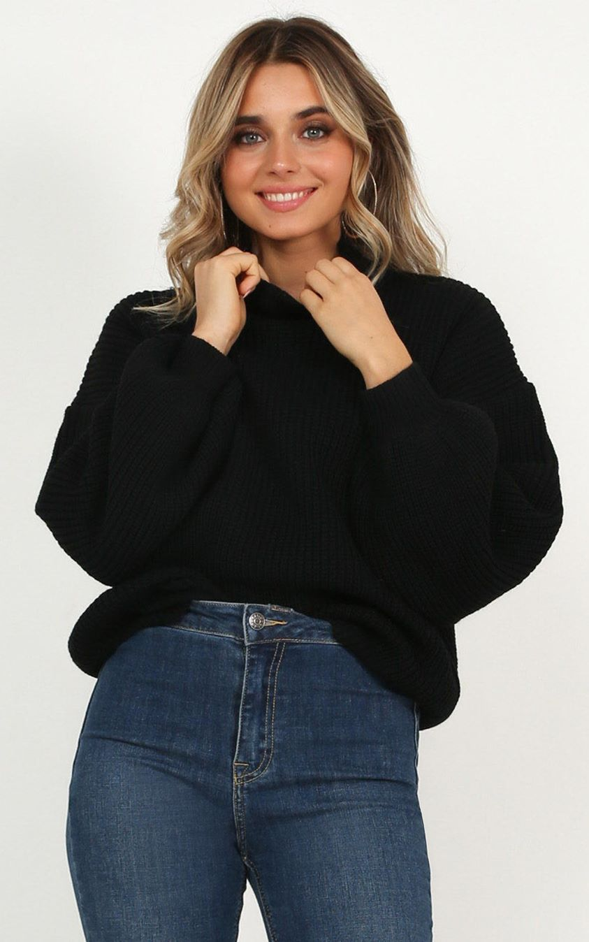 Showpo I Feel Love Oversize Knit sweater In black - 6 (XS) Long Sleeve