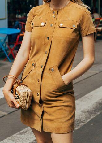 dress suede tumblr mini dress button up mustard dress mustard bag clutch necklace jewels