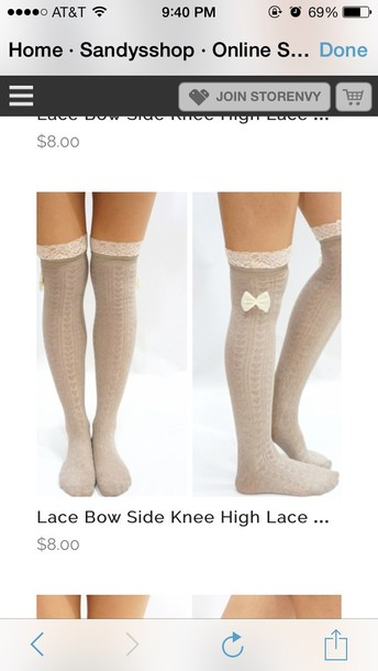 underwear socks knee high socks bows cute