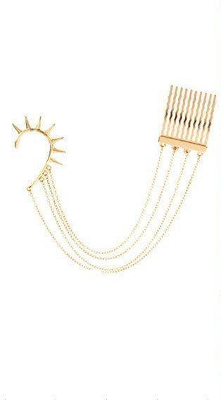 Handmade gold chain ear cuff
