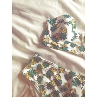 swimwear pineapple print bandeau bikini