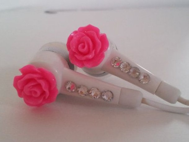 pink roses earbuds bling rhinestones white jewels