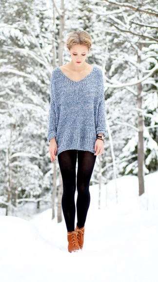 oversized sweater blue knit textured tights light blue girly