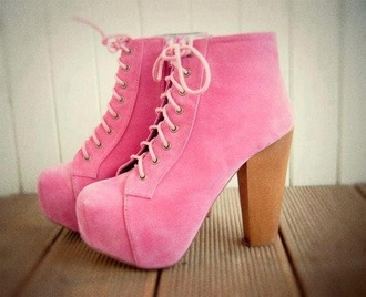 pink platform lace up boots lace-up shoes shoes shoes boots heels cute pink belt
