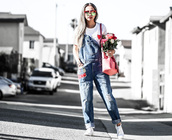 different cands,blogger,shirt,bag,shoes,embroidered,dungarees,denim overalls,overalls,red sunglasses,mirrored sunglasses,sneakers,low top sneakers,white sneakers,flowers,white t-shirt