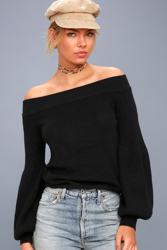Good Going Black Knit Off-the-Shoulder Sweater