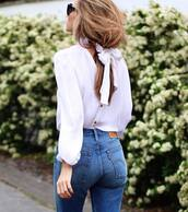 shirt,tumblr,white shirt,long hair,brunette,denim,jeans,blue jeans,bow,bow top,button up