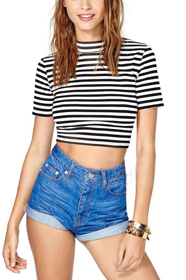 Black white stripe mock neck crop top
