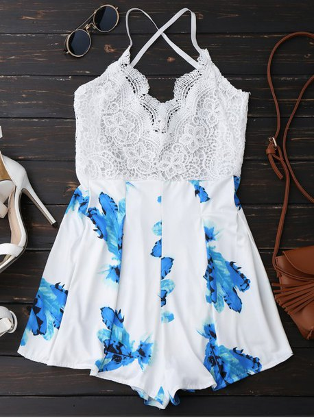 romper floral blue summer girly spring zaful