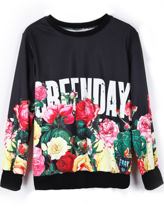 sweatshirt green day punk roses music floral sweater jumper band merch band t-shirt grunge band sweater black top