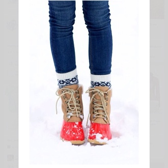 shoes red leather rubber 8 inch snow lace up snow boots