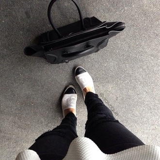 shoes black flats white chanel style