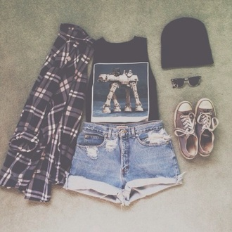pants cute dress indie grunge loveit pretty style tumbr outfit shirt benies shoes skirt sunglasses shorts hat sweater