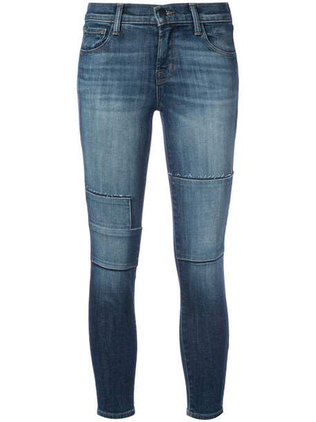 jeans skinny jeans cropped women cotton blue