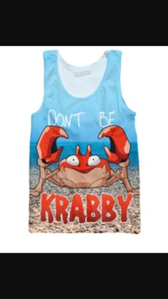 tank top krabby mingled pokemon mens tank top krabby kingler