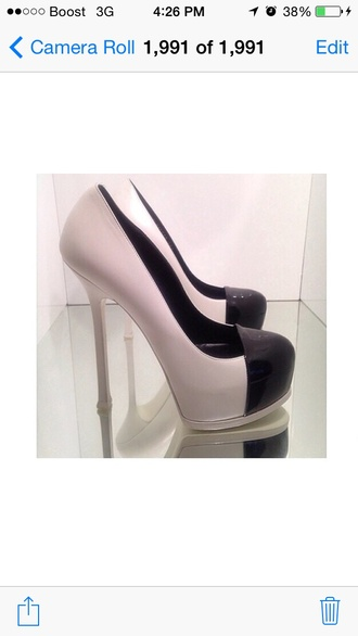 shoes white & black shoes high heels leather pumps cap toe shoes ysl