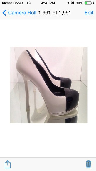 shoes high heels white & black shoes leather pumps cap toe shoes ysl