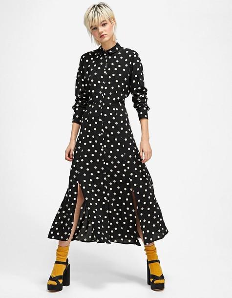 Stradivarius dress shirt dress long black
