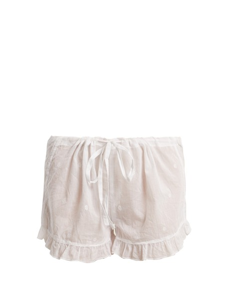 POUR LES FEMMES shorts embroidered ruffle cotton white