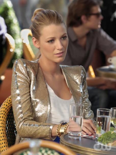 gold serena blake lively gossip girl yellow jacket