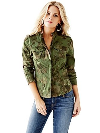 GUESS Women's Overdyed Floral Camo Jacket at Amazon Women's Coats Shop