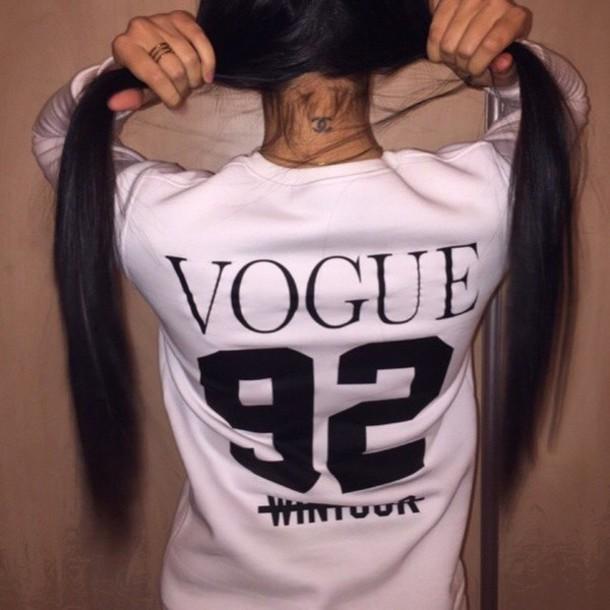 sweater white black print white t-shirt vogue shirt 92 tumblr outfit