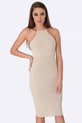 dress midi mididress nude dress bodycon formal dress cocktail dress high neck crossover back bodycon dress midi dress sexy dress