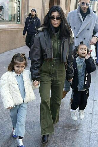 jumpsuit jacket streetstyle fall outfits kardashians pants top kourtney kardashian cropped jacket