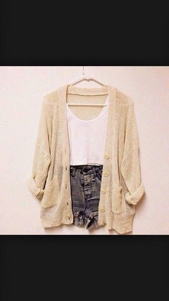 cardigan shorts tan white tank top