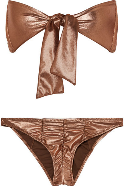 Lisa Marie Fernandez - Poppy Ruched Knotted Metallic Bikini - Bronze