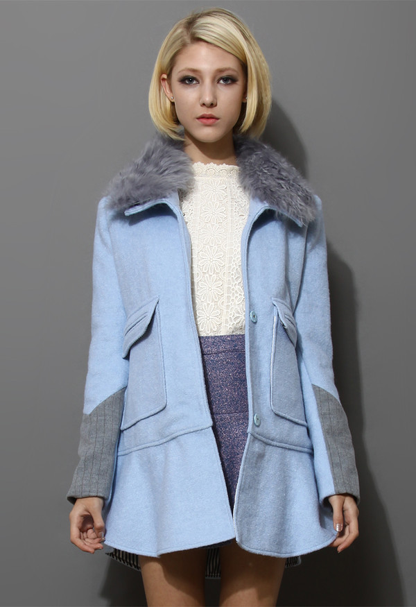 coat detachable wool collar frill hem panel blue