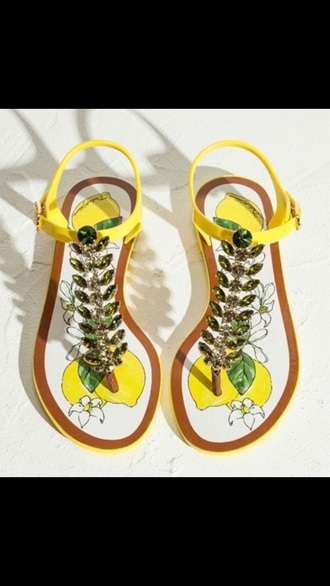 shoes yellow sandals lemon summer summer sandals rhinestones
