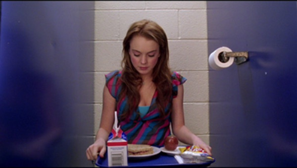 t-shirt stripes red blue lindsay lohan mean girls blouse food girly stripes tank top clothes bathroom movie tv