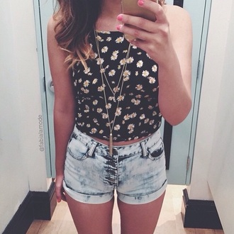top floral shirt crop tops black crop top