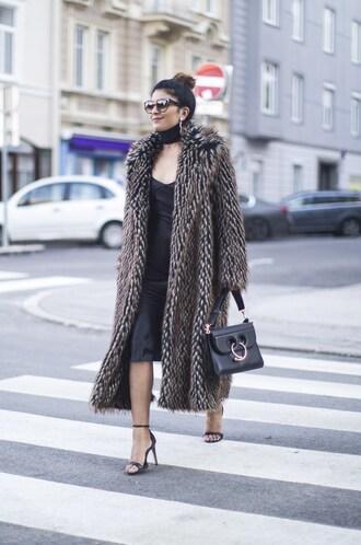 fashionlandscape blogger coat dress scarf shoes sunglasses jewels bag fur coat shoulder bag high heel sandals sandals black dress midi dress printed fur coat long fur coat