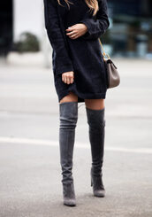 pam hetlinger,the girl from panama,blogger,sweater,dress,shoes,bag,sunglasses,sweater dress,knitted dress,thigh high boots,grey boots,high heels boots,knitted mini dress,black knit dress