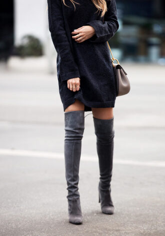 pam hetlinger the girl from panama blogger sweater dress shoes bag sunglasses sweater dress knitted dress thigh high boots grey boots high heels boots