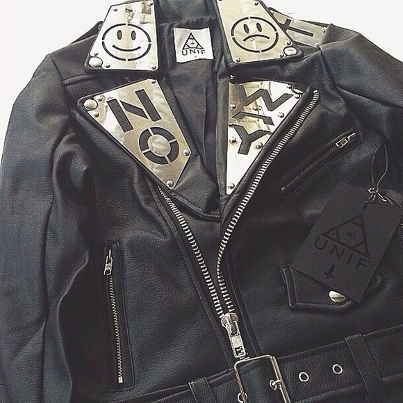 unif black jacket leather jacket