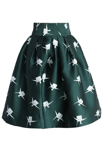 chicwish paper cranes printed skirt pleated tulip skirt