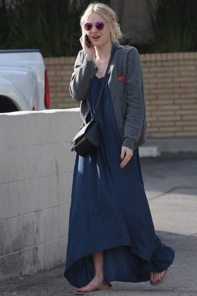 dress dakota fanning maxi dress cardigan