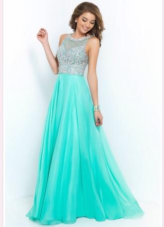 dress prom dress a line 2015 mint sparkle spring